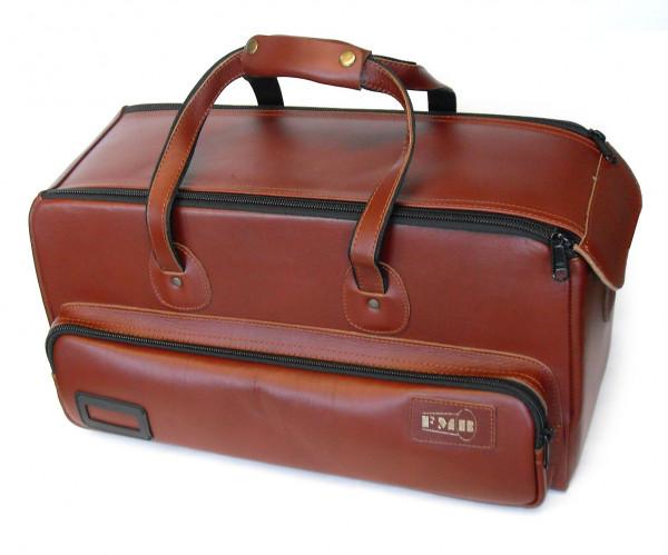 FMB-Bag mit Seitentasche 2 Trompeten Leder, braun